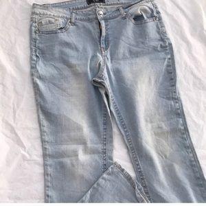 Plus size Cato wash lite flare stretch jeans